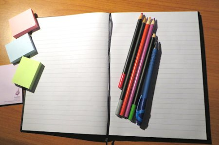 Although I write the actual chapters on a computer, each book gets its own new notebook. Coloured pencils and post-it notes are essential too. More about that in a later blog.